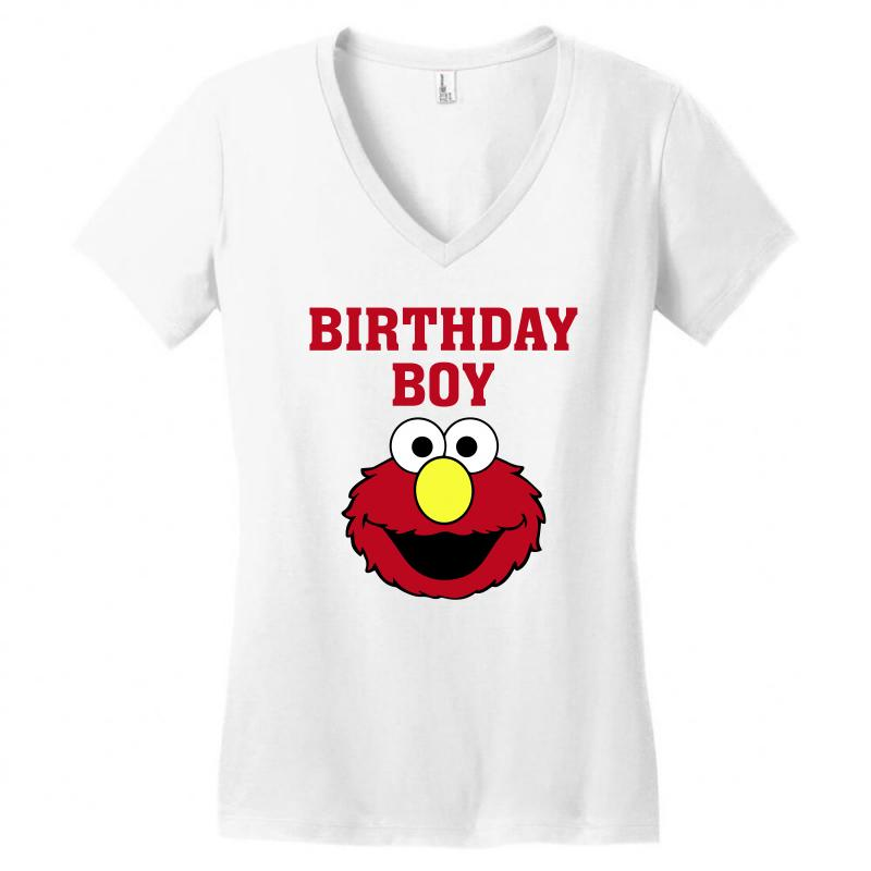 Elmo Birthday Boy Womens V Neck T Shirt