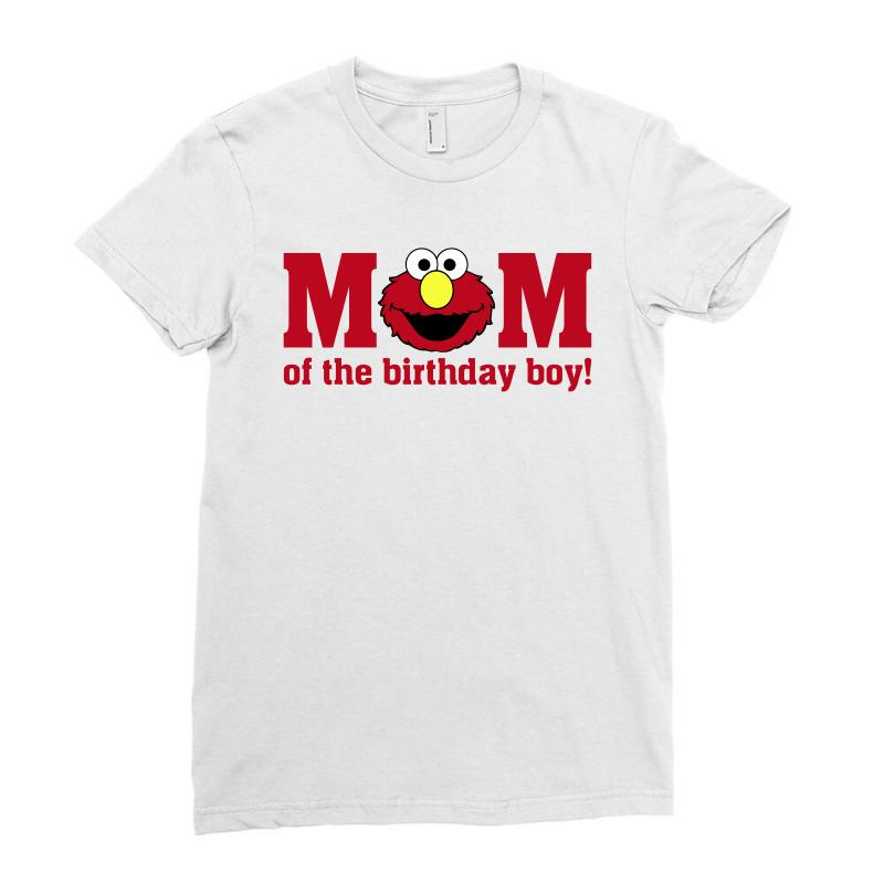 Elmo Mom Of The Birthday Boy Ladies Fitted T Shirt