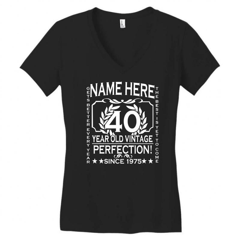 a101a2df2 40th birthday t shirt personalise with name age year ideal birthday gi  Women's V-Neck T-Shirt