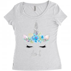 birthday unicorn family series dad Women's Triblend Scoop T-shirt | Artistshot