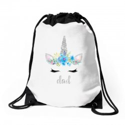 birthday unicorn family series dad Drawstring Bags | Artistshot