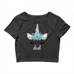 birthday unicorn family series dad Crop Top | Artistshot