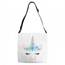 birthday unicorn family series dad Adjustable Strap Totes | Artistshot