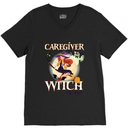 Caregiver Witch V-neck Tee Designed By Wizarts