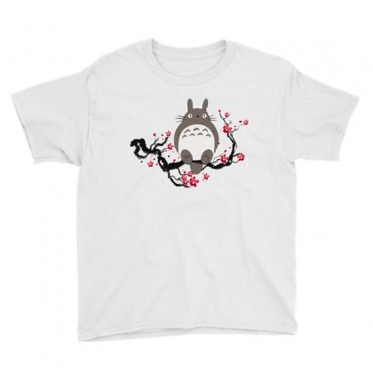 Totoro Sitting Cherry Blossom Tree Youth Tee Designed By Akin