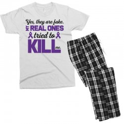 yes,they are fake. my real ones tried to kill me pancreatic cancer Men's T-shirt Pajama Set | Artistshot