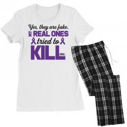 yes,they are fake. my real ones tried to kill me pancreatic cancer Women's Pajamas Set | Artistshot