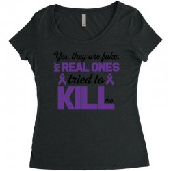 yes,they are fake. my real ones tried to kill me pancreatic cancer Women's Triblend Scoop T-shirt | Artistshot