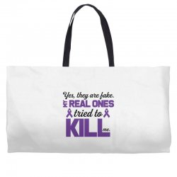 yes,they are fake. my real ones tried to kill me pancreatic cancer Weekender Totes | Artistshot
