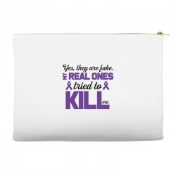 yes,they are fake. my real ones tried to kill me pancreatic cancer Accessory Pouches | Artistshot