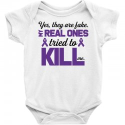 yes,they are fake. my real ones tried to kill me pancreatic cancer Baby Bodysuit | Artistshot