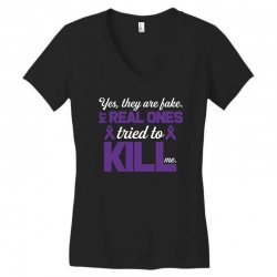 yes,they are fake. my real ones tried to kill me pancreatic cancer Women's V-Neck T-Shirt | Artistshot
