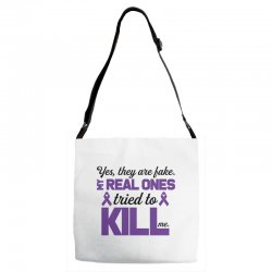 yes,they are fake. my real ones tried to kill me pancreatic cancer Adjustable Strap Totes | Artistshot