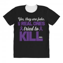 yes,they are fake. my real ones tried to kill me pancreatic cancer All Over Women's T-shirt | Artistshot