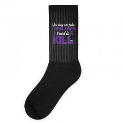 yes,they are fake. my real ones tried to kill me pancreatic cancer Socks | Artistshot