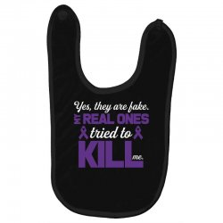yes,they are fake. my real ones tried to kill me pancreatic cancer Baby Bibs | Artistshot