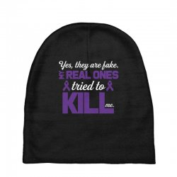 yes,they are fake. my real ones tried to kill me pancreatic cancer Baby Beanies | Artistshot
