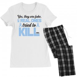 yes, they are fake my real ones tried to kill me stomach cancer Women's Pajamas Set | Artistshot
