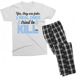 yes, they are fake my real ones tried to kill me stomach cancer Men's T-shirt Pajama Set | Artistshot