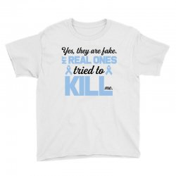 yes, they are fake my real ones tried to kill me stomach cancer Youth Tee | Artistshot