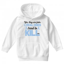 yes, they are fake my real ones tried to kill me stomach cancer Youth Hoodie | Artistshot