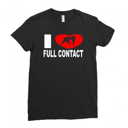 I Love Full Contact Ladies Fitted T-shirt Designed By Ancart