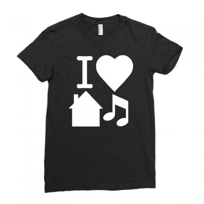 I Love House Music Dj Baseball Ladies Fitted T-shirt Designed By Ancart