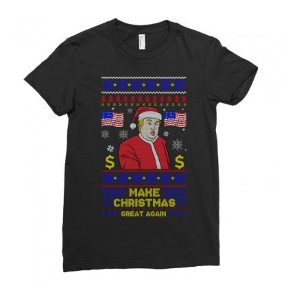 Trump Christmas Make Christmas Great Again Ladies Fitted T-shirt Designed By Sengul