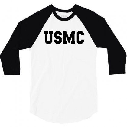 Usmc - Military Army Patriot America United States 3/4 Sleeve Shirt Designed By Meza Design