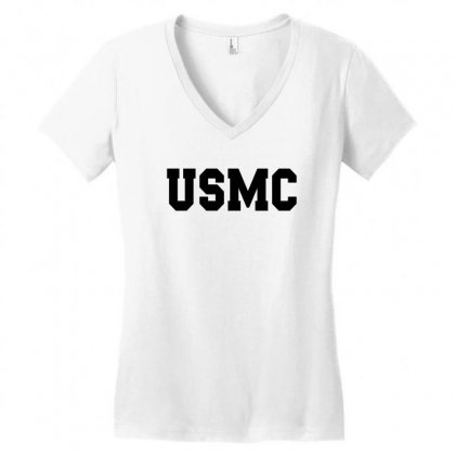 Usmc - Military Army Patriot America United States Women's V-neck T-shirt Designed By Meza Design