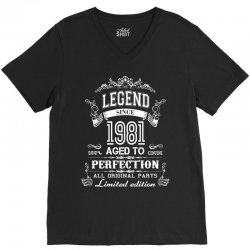 legend sin 1981 aged to perfection all original parts limited edition V-Neck Tee   Artistshot