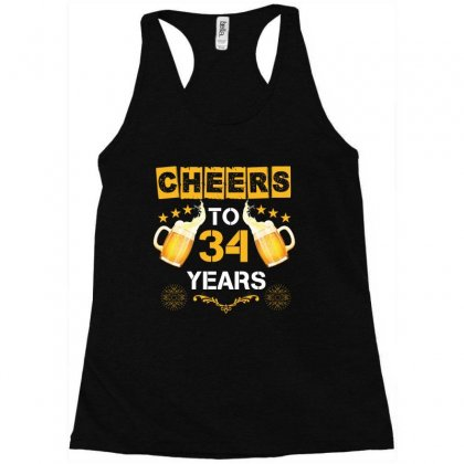 Cheers To 34 Years Racerback Tank Designed By Wizarts