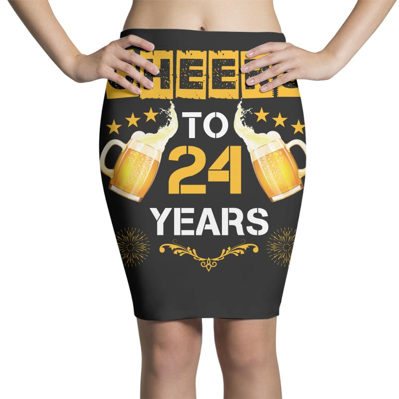 3ca9d97a6ac17 Custom Cheers To 24 Years Pencil Skirts By Wizarts - Artistshot