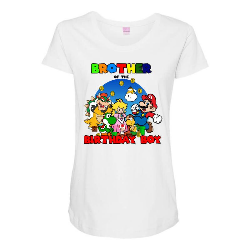 Super Mario Brother Of The Birthday Boy Maternity Scoop Neck T Shirt
