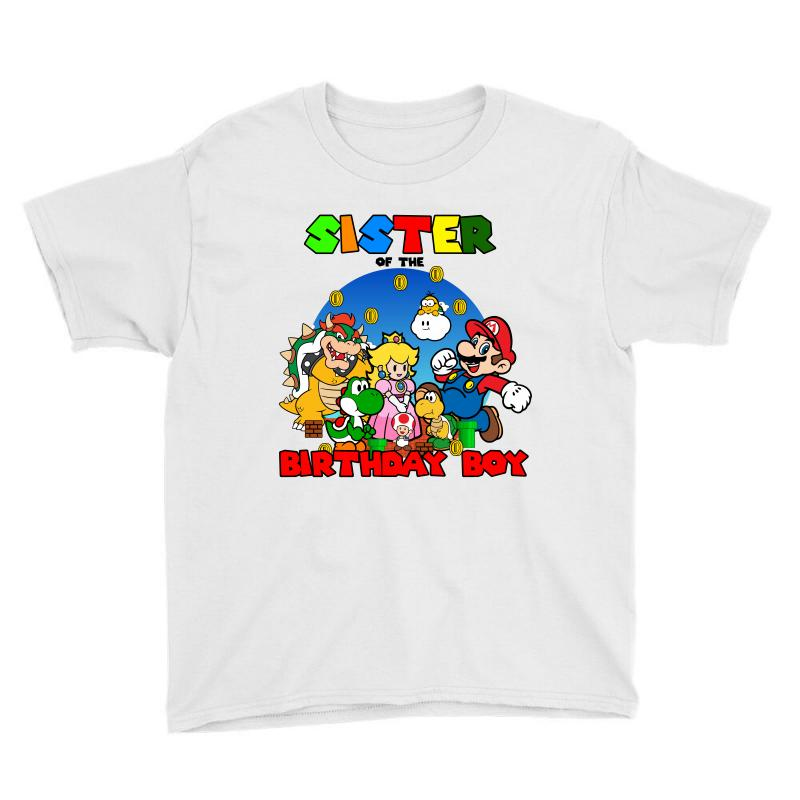 Super Mario Sister Of The Birthday Boy Youth Tee