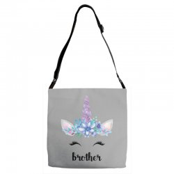 birthday unicorn family series brother Adjustable Strap Totes | Artistshot