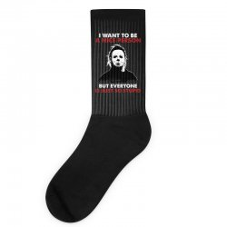 michael myers i want to be a nice person but everyone is just stupid Socks | Artistshot