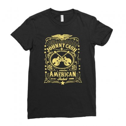 Johnny Cash American Rebel Ladies Fitted T-shirt Designed By Ancart