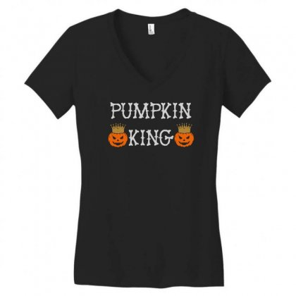 Halloween Pumpking Women's V-neck T-shirt Designed By Aheupote