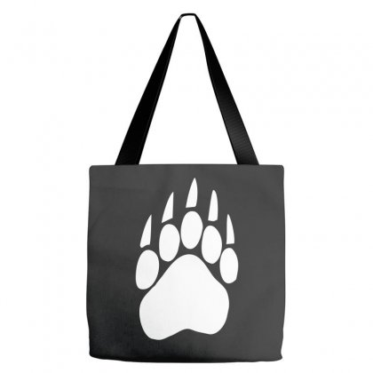 Large Bear Paw Print Crew Neck Long Sleeve Tote Bags