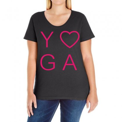Yoga Heart  Pink Logo Ladies Curvy T-shirt Designed By Black White