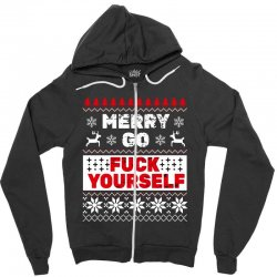 elf merry go fuck your elf ugly christmas sweater Zipper Hoodie | Artistshot