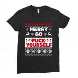 elf merry go fuck your elf ugly christmas sweater Ladies Fitted T-Shirt | Artistshot