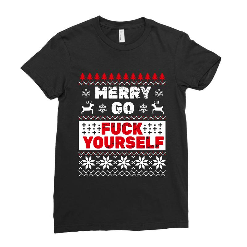 Elf Merry Go Fuck Your Elf Ugly Christmas Sweater Ladies Fitted T-shirt   Artistshot