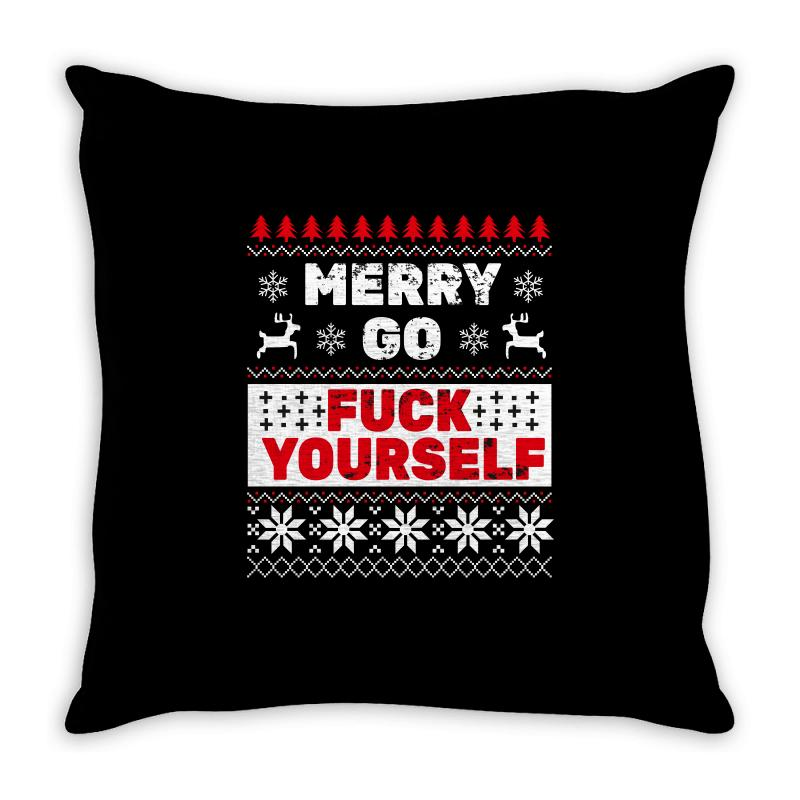 Elf Merry Go Fuck Your Elf Ugly Christmas Sweater Throw Pillow | Artistshot