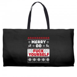 elf merry go fuck your elf ugly christmas sweater Weekender Totes | Artistshot