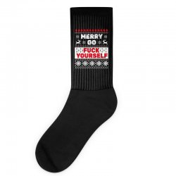 elf merry go fuck your elf ugly christmas sweater Socks | Artistshot