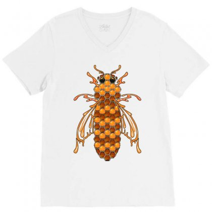 Honey Bee Ii V-neck Tee Designed By Wizarts