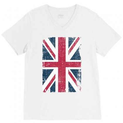Britain Grunge Flag V-neck Tee Designed By Sengul