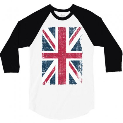 Britain Grunge Flag 3/4 Sleeve Shirt Designed By Sengul